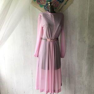 Sheer Pink 1970s High Neck Dress